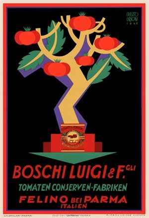 Boschi Luigi 1926 Italy - Beautiful Vintage Poster Reproductions. This vertical Italian culinary / food poster features a graphic tree with tomatoes and leaves on a black background. Giclee Advertising Print. Classic Posters. Felino Bei Parma Italien