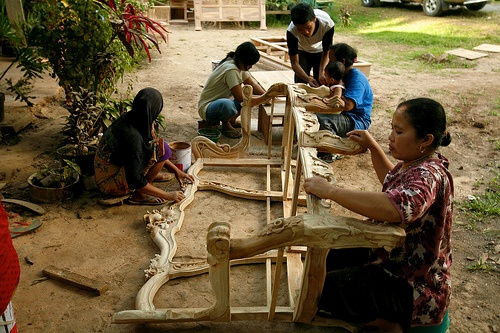 Furniture worker.Women do the finishing process for furniture.   Jepara, Central Java, Indonesia, June, 2009.