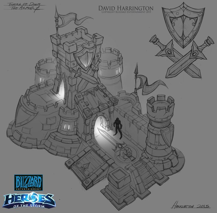 Heroes Of The Storm - Towers Of Doom Armory Concept, David Harrington on ArtStation at https://www.artstation.com/artwork/EwVGK