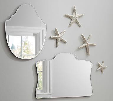 "Piper Frameless Mirrors #potterybarn Medium: 21"" wide x 26"" high Medium weight: 7.5 pounds Large: 32"" wide x 22"" high"