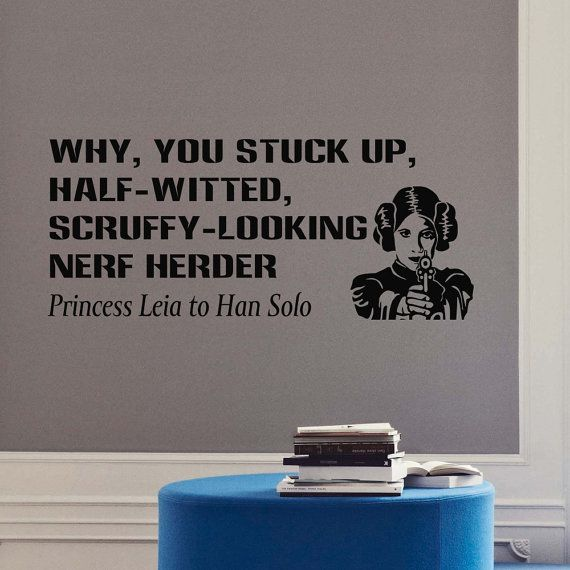 Star Wars Wall Decal Quote Princess Leia Why You Stuck Up Vinyl Stickers Wall Decals Home Decor Art Mural Bedroom Dorm Teens Room Z292