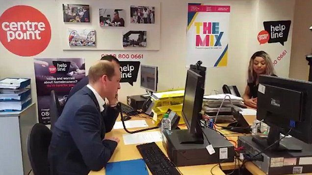 Prince William takes a practice call on the Centrepoint hotline to launch the service in London, which will help young homeless people find support.