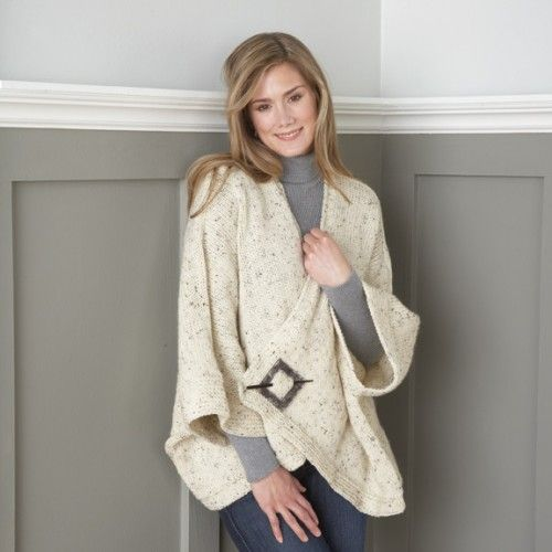 Kimono Wrap (Aran Irish Tweed) Kit $26.24 - Elegant oversized jacket to knit with simple crocheted trim to complete the look. Choose Aran Irish Tweed (shown) or Aran Irish Twist. One size fits most.