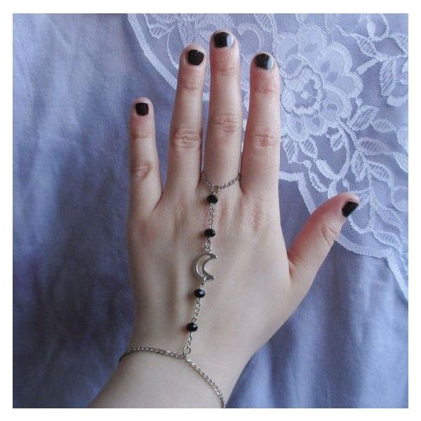 moon slave bracelet, pastel goth, nu goth, grunge, hipster pagan... ❤ liked on Polyvore featuring jewelry, bracelets, pastel jewelry, gothic jewellery, pastel goth jewelry, gothic jewelry and goth jewelry