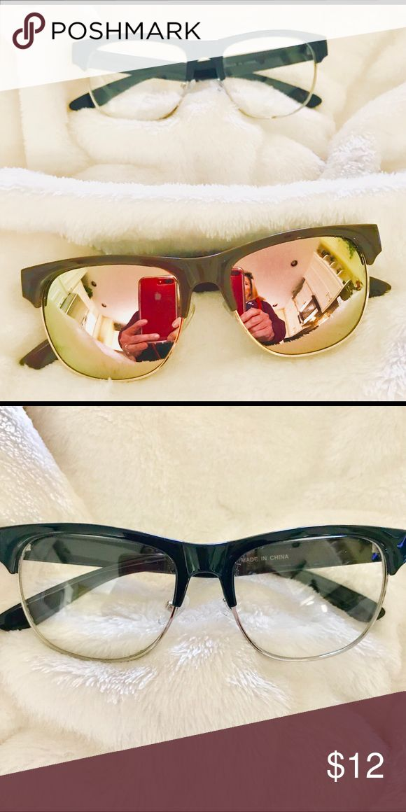 WOMENS Fashion sunglasses and fashion glasses ☀️⭐️☀️⭐️TWO FOR ONE PRICE⭐️☀️⭐️☀️. Brown frame with rose mirror sunglasses and navy blue and silver frame with clear lens glasses. Accessories Sunglasses