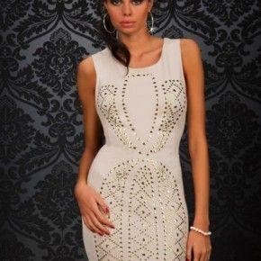Damen Kleid, elegante Cocktailkleid , Nackt Sexy Minikleid Studs 7045