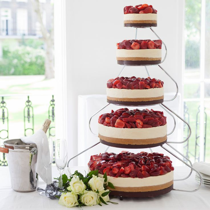 5 Tier Strawberry & Cream Celebration Cheesecake with Cake Stand (pictured). Serves 140