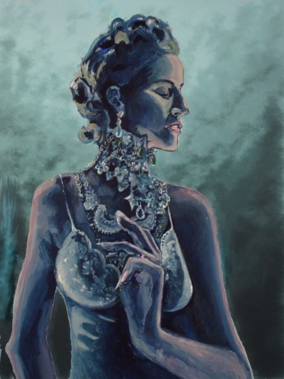 Blue Lady. I really love her jewellry...and hands – I might got carried away and over-done her had a little bit. Tempera.