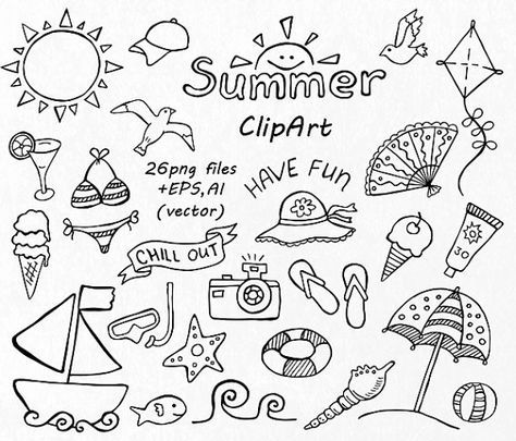 LARGE Set of Doodle Summer Clipart, Hand Drawn Holiday Clipart, Digital Clip Art, Png, Eps, Ai, Vector Clipart, Personal and Commercial Use