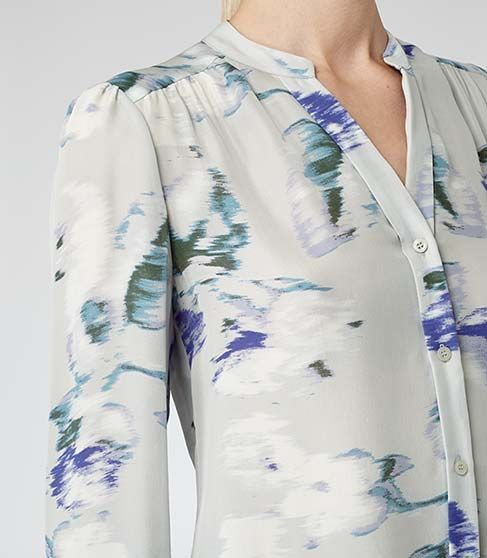 Reiss Delores Womens Pansey Print Silk Blurred Bloom Blouse