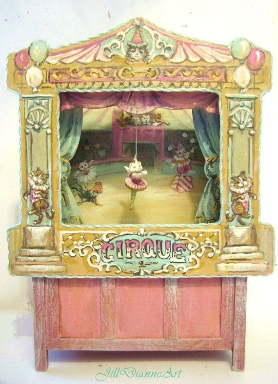 Victorian Cat and Chicken Circus Puppet Theatre  by JillDianneArt, $585.00