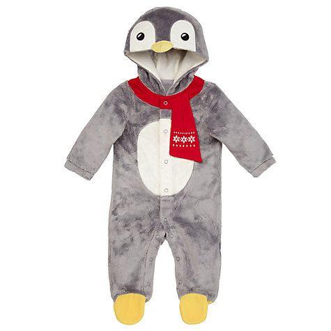 Buy John Lewis Novelty Penguin Bodysuit, Grey Online at johnlewis.com