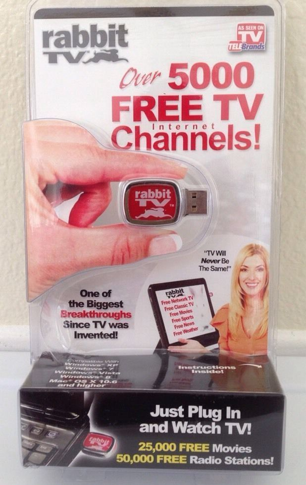 RABBIT TV USB As Seen on TV Plug In PC & Watch 5000 Free Internet TV Channels  #AsSeenOnTV