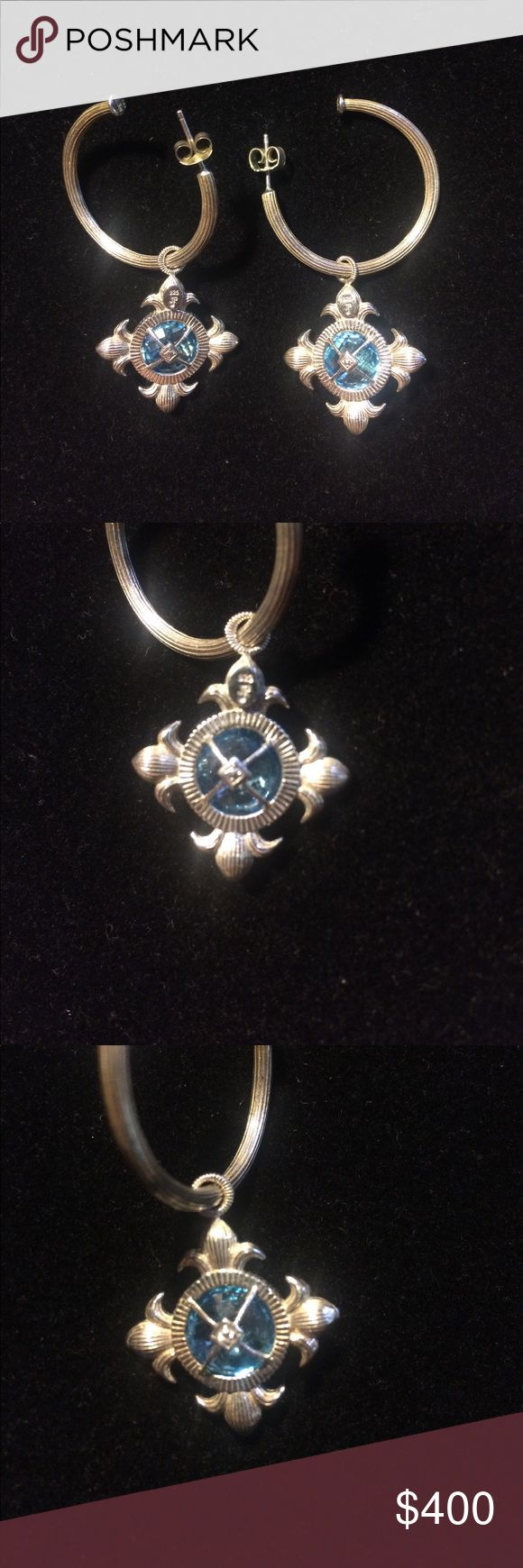 "Jude Frances Silver Hoop Charm Earrings GORGEOUS Jude Frances Hoop Charm Earrings in Sterling Silver, Aquamarine, and Pave Diamond. Hoops are just over 1"" in diameter and can be worn solo, or with other charms. Charms are 1"" long. Total earring length is 2"". I have other charms for sale, if you want to bundle! NEVER WORN! Jude Frances Jewelry Earrings"