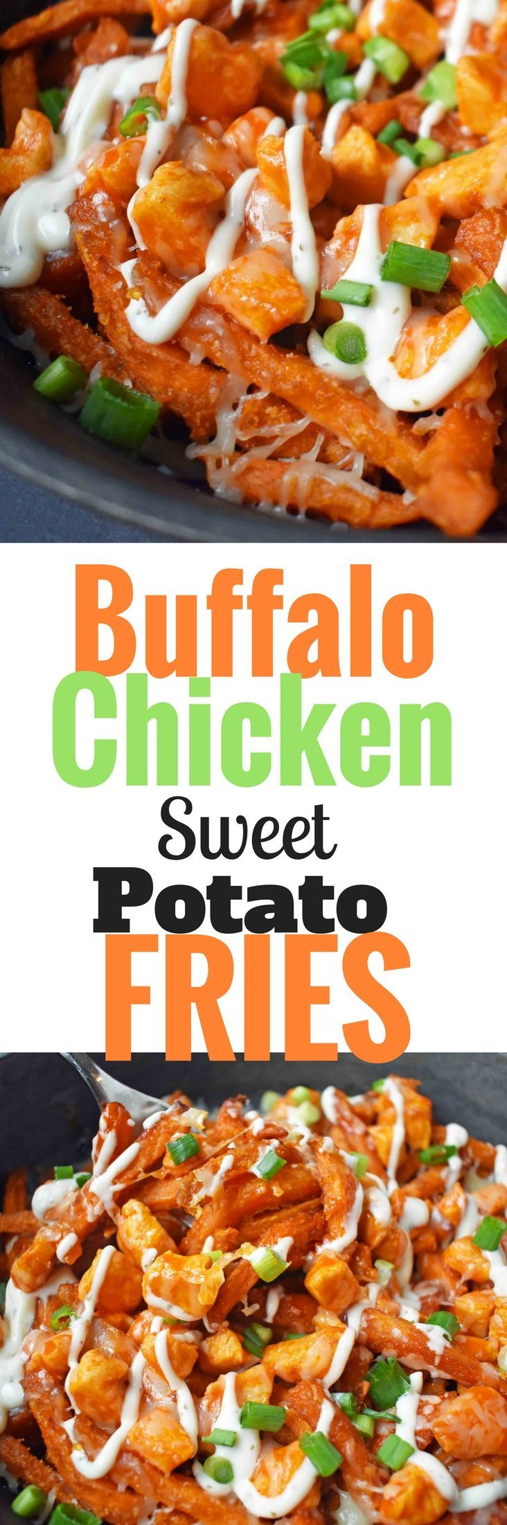 Buffalo Chicken topped Sweet Potato Fries. Crispy sweet potato fries topped with hot wing buffalo chicken, cheese, green onions, and ranch dressing. http://www.modernhoney.com