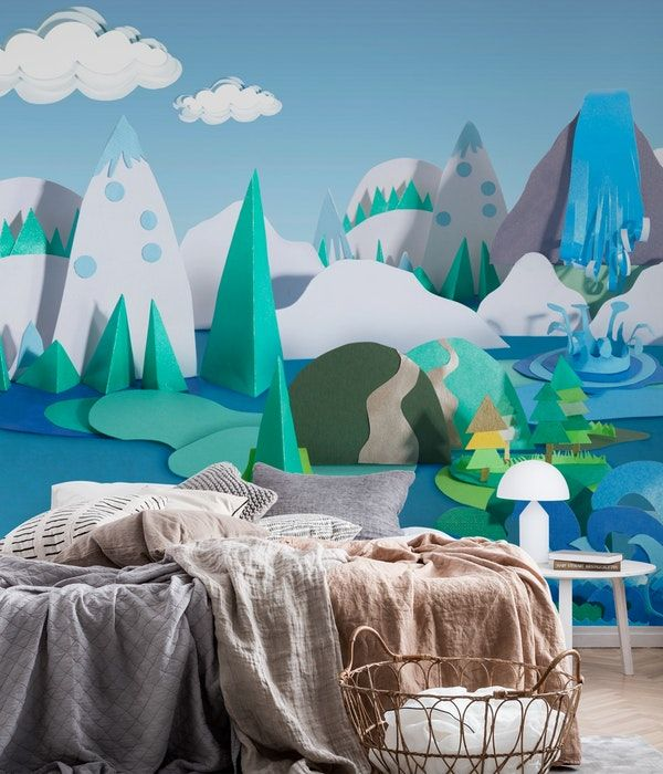 Paper Craft Mountains And Sea Wall Mural Childrens Wall Murals