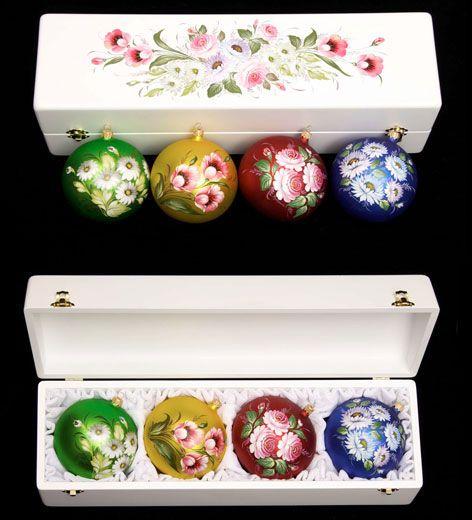 Коллекционные наборы ёлочных шаров с авторской росписью :: Жостовская фабрика декоративной росписи
