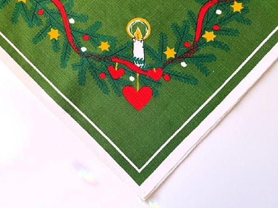 Scandinavian Linen Vintage Tablecloth 35 x 32