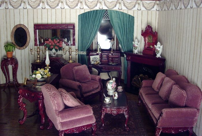 Purple mini living room mini pinterest miniatur for Cama 0 90 x 1 90