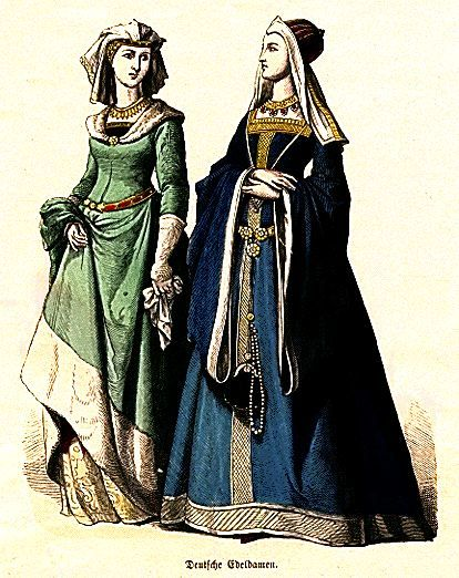 15th century, German: Medieval Clothing, Woman Fashion, Medieval Fashion, Renaissance Clothing, Google Search, Middle Age, 15Th Century, Fashion Drawings, Green Dresses