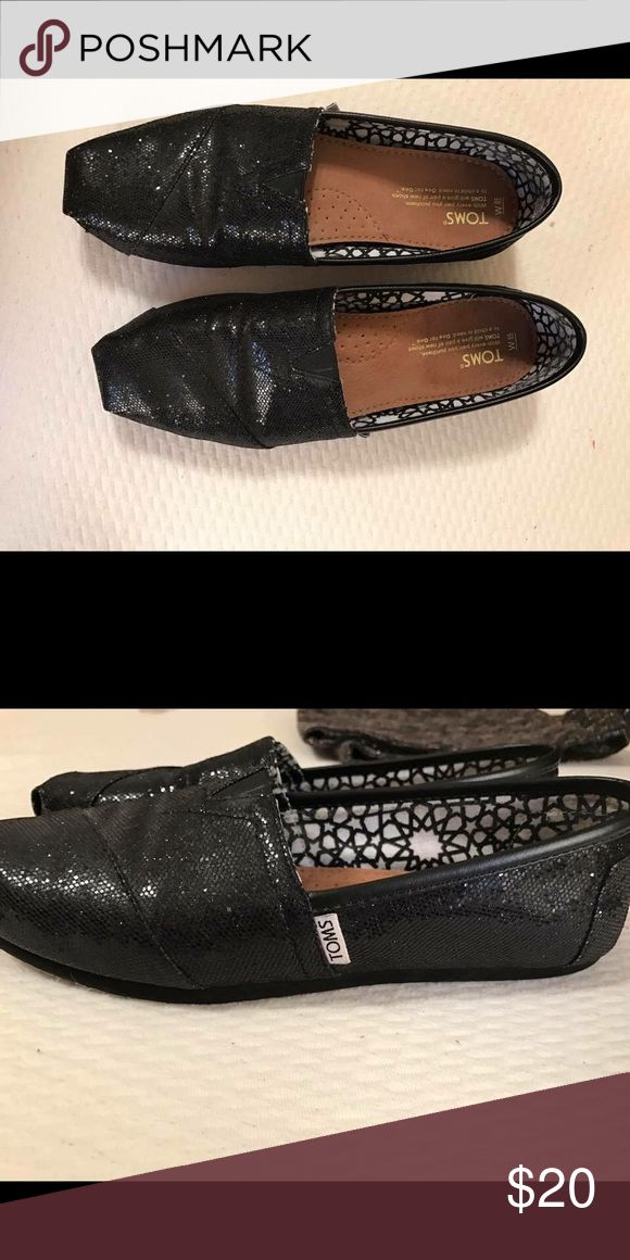 Black Glitter Toms Black Toms with glitter/sparkle detail TOMS Shoes Flats & Loafers
