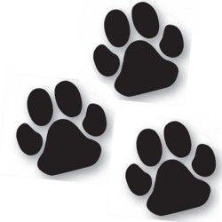 Lot de 3 autocollants patte noire chien -25cm-Vitrine-Vitres-1