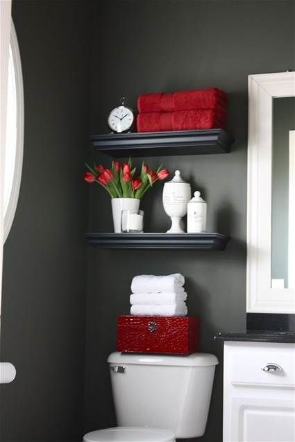 Decorar Baño Sin Obra:Red and Gray Bathroom Ideas