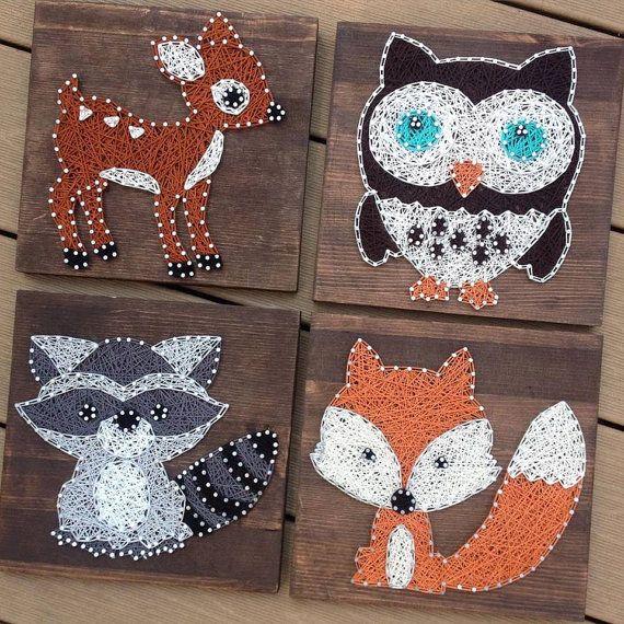 Hecho a la medida, 4 animales del bosque, arte de cadena, cadena arte animales, vivero Decor, ciervos, lechuza, zorro, mapache, Nail Art, cadena y Nail Art