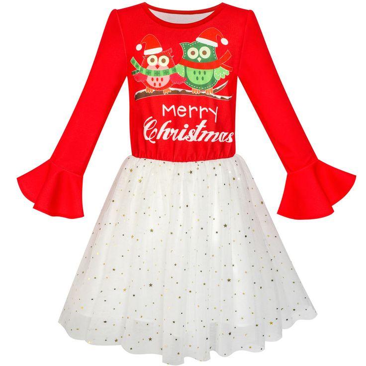 Sunny Fashion Robe Fille Longue Manche Noël Chouette Pétillant Sequin Tulle