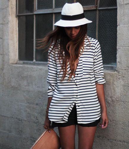 : Summer Styles, Fashion Shoes, Shirts, Outfit, Street Styles, Black White, Shorts, Stripes, Nautical Fashion