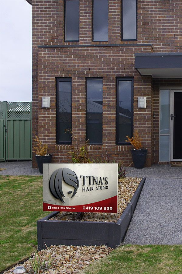 Lawn Sign for Tina´s Hair Studio - part of an identity + collateral redesign and production