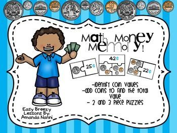 Money Memory PuzzlesThis is a great hands on game to get your students thinking about coins and there values! There are 2 and 3 piece puzzles (40 puzzles in all) which ask students to identify the value of coins, matching groups of coins to the correct values, in addition to adding coins to fins a total value. This is perfect for first or second grade. I hope you enjoy this product and it works well in your classroom. :) Let me know what you think!