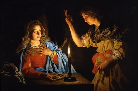 Annunciation c.1600 by Matthias Stoma, Dutch Golden Age Painter. This painter created numerous exemplary chiaroscuro pieces including this one...using candle light as a singular source to create dramatic highlights and shadows. This is my favorite painting technique because it really makes the figures jump off the canvas.