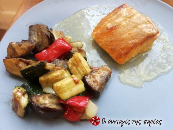 Φιλέτο σολομού με μουστάρδα και ψητά λαχανικά #sintagespareas