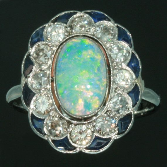 Cabochon Opal Ring Blue Sapphire Brilliant Cut Diamond 0