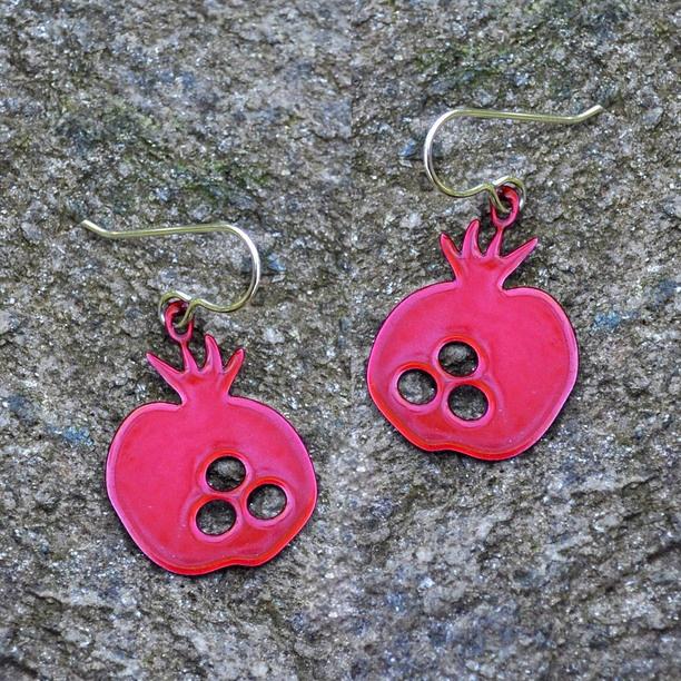 Pomegranate Earrings Red red, jewelry, earrings