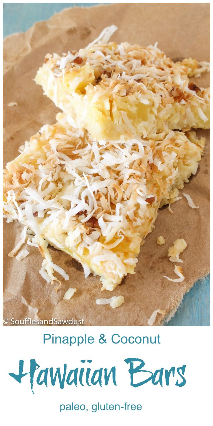 Hawaiian Dessert Bars with pineapple, toasted coconut and pecans.  It's like…