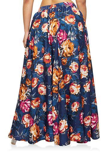 Plus Size Floral Maxi Skirt,NAVY