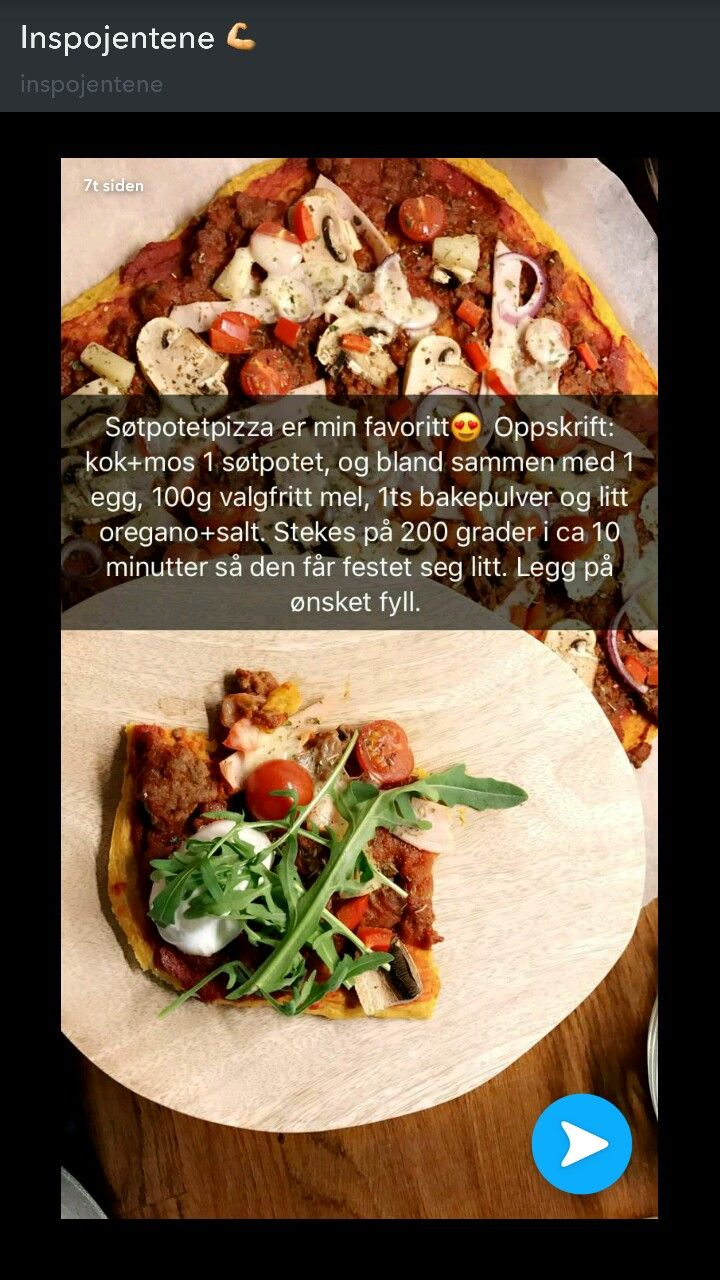 Søtpotetpizza  Stek karbonadedeig med hakkede tomater og tacokrydder, ta på tomatpuré, sopp, løk, ananas, paprika, skinke og tomater. Stekes i 10 minutter til. Server med hjemmelaget hvitløksdressing; 1 boks kesam/rømme, hvitløk etter smak og salt og pepper