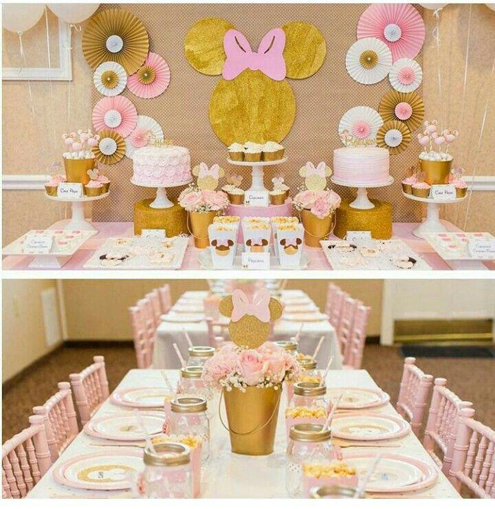 Minnie dorada maddie pinterest - Decoracion de cumpleanos rosa y dorado ...