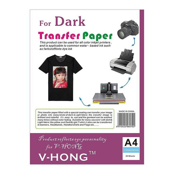 Cheaper US $22.45 V-HONG T-shirt A4 sublimation paper Dark heat transfer paper for cotton #VHONG #Tshirt #sublimation #paper #Dark #heat #transfer #cotton #BlackFriday