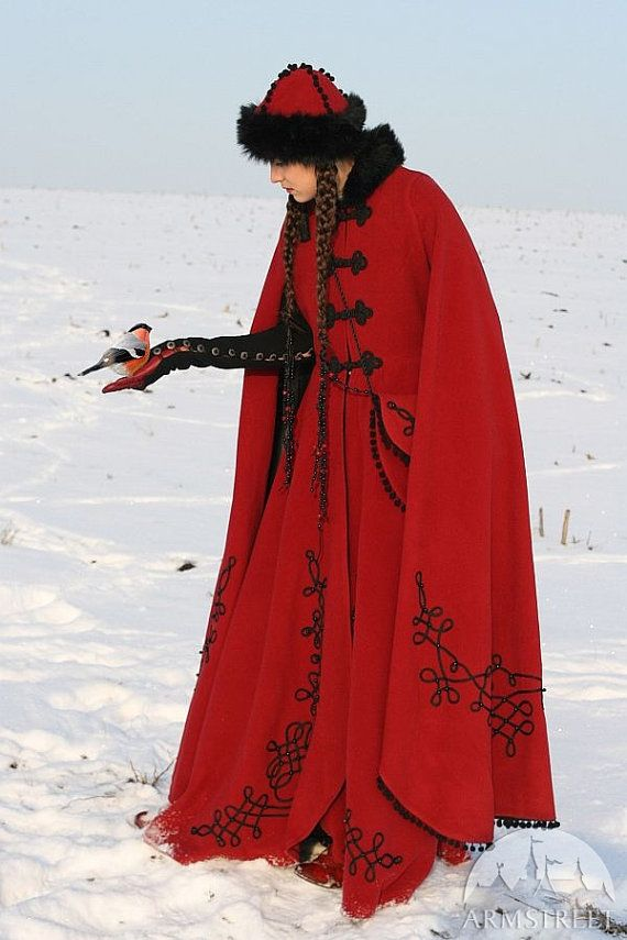 Medieval fantasy winter coat Queen of Shamakhan  Slim-fitted silhouette typical for late European garb, some details of Asian Manchoo costume, used