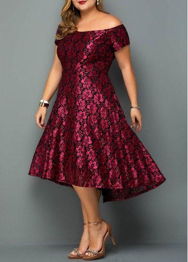 Flower Print Off the Shoulder Plus Size Dress   liligal.com – USD $41.04