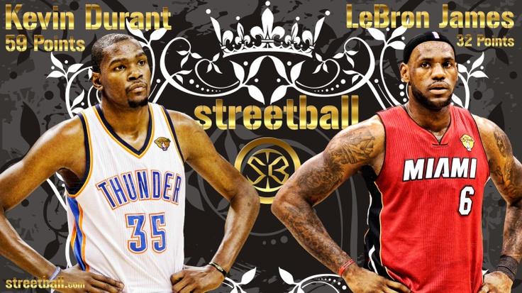 Kevin Durant Vs LeBron James New Streetball And NBA Basketball Wallpaper Finals 2012