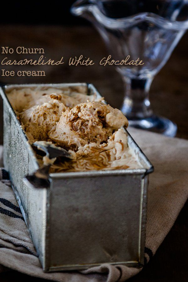 No churn caramelised white chocolate ice cream - delicious, divine and only 3 ingredients!  Get the recipe at DeliciousEveryday.com