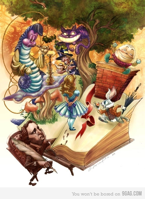 Alice in Wonderland art. I love how they are coming out of the book!