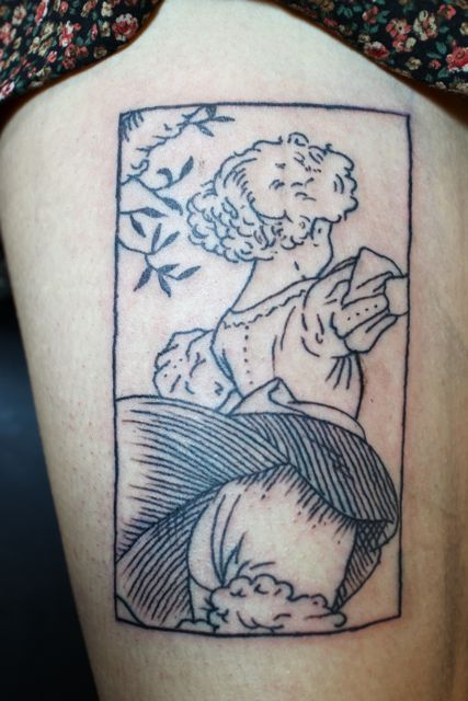 cute woodcut tattoo.