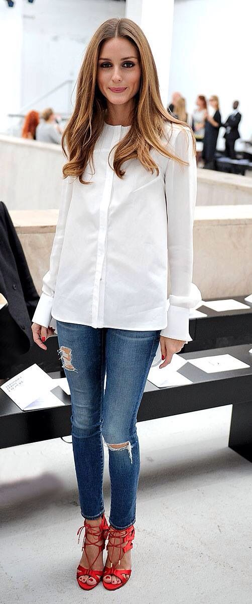 white Long sleeve Blouse with Jeans and red Heels / Shoes - Celebrity Style - Daytime Dressy Outfit