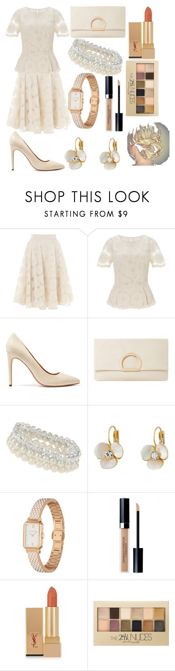 """Cream"" by soolalcalde ❤ liked on Polyvore featuring Somerset by Alice Temperley, Halston Heritage, Dune, Dorothy Perkins, Kate Spade, Halcyon Days, Christian Dior, Yves Saint Laurent and Maybelline"