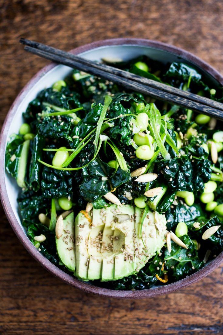 Emerald Kale Salad w/ Sesame Ginger Dressing, Avocado, edamame, scallions, pumpkin seeds and orange zest. Add seared tofu and turn it into dinner! | www.feastingathome.com #vegan #kale #salad #glutenfree